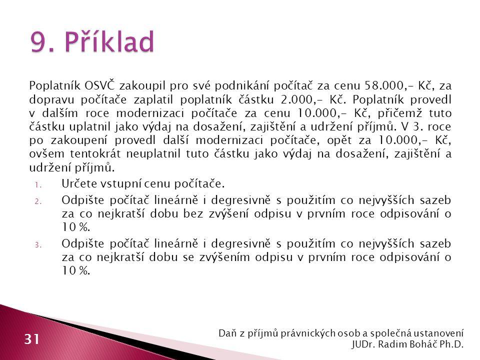 Poplatník OSVČ zakoupil pro své podnikání počítač za cenu 58.000,- Kč, za dopravu počítače zaplatil poplatník částku 2.000,- Kč.