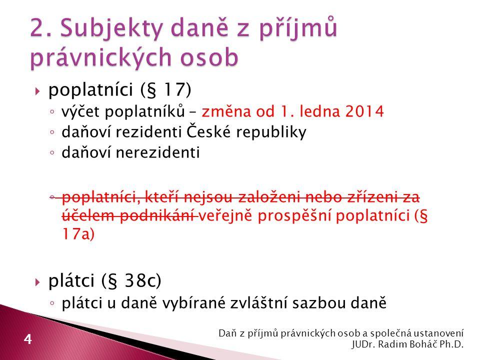  poplatníci (§ 17) ◦ výčet poplatníků – změna od 1. ledna 2014 ◦ daňoví rezidenti České republiky ◦ daňoví nerezidenti ◦ poplatníci, kteří nejsou zal