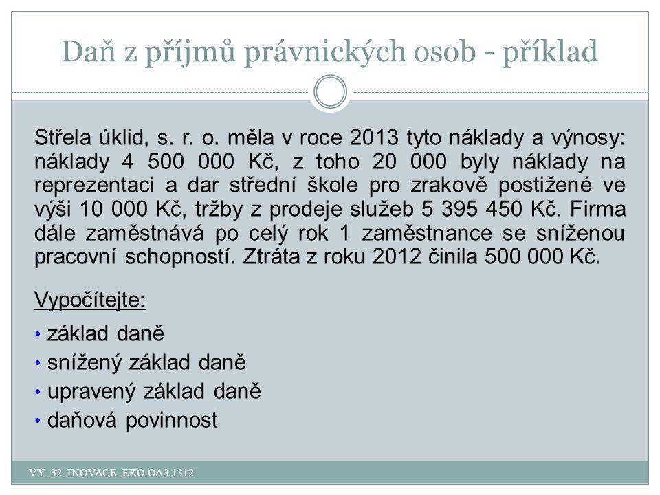 Daň z příjmů právnických osob - příklad Střela úklid, s.