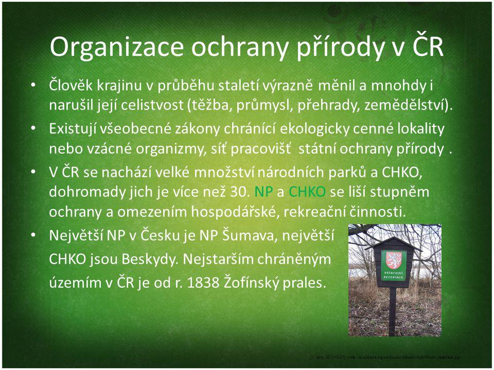 Organizace ochrany přírody v ČR Člověk krajinu v průběhu staletí výrazně měnil a mnohdy i narušil její celistvost (těžba, průmysl, přehrady, zemědělst
