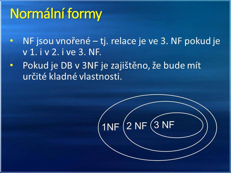 NF jsou vnořené – tj. relace je ve 3. NF pokud je v 1. i v 2. i ve 3. NF. Pokud je DB v 3NF je zajištěno, že bude mít určité kladné vlastnosti.
