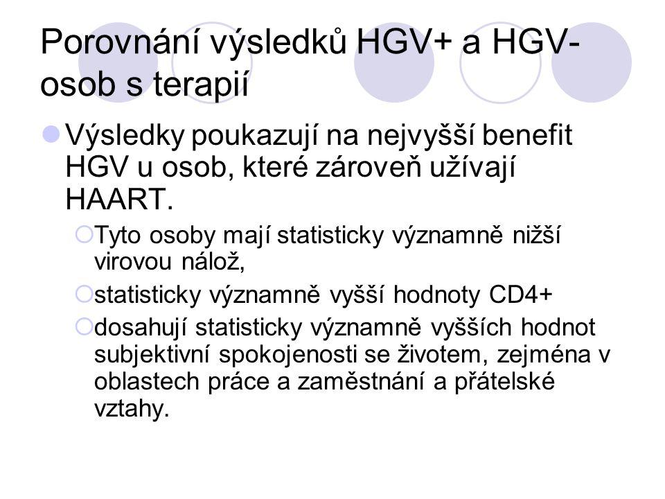 Porovnání výsledků HGV+ a HGV- osob s terapií Výsledky poukazují na nejvyšší benefit HGV u osob, které zároveň užívají HAART.  Tyto osoby mají statis