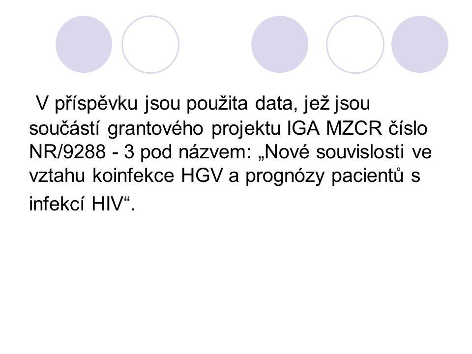 """V příspěvku jsou použita data, jež jsou součástí grantového projektu IGA MZCR číslo NR/9288 - 3 pod názvem: """"Nové souvislosti ve vztahu koinfekce HGV"""