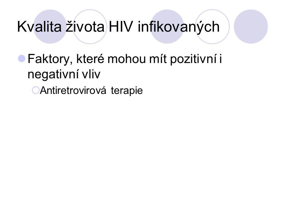 Kvalita života HIV infikovaných Faktory, které mohou mít pozitivní i negativní vliv  Antiretrovirová terapie