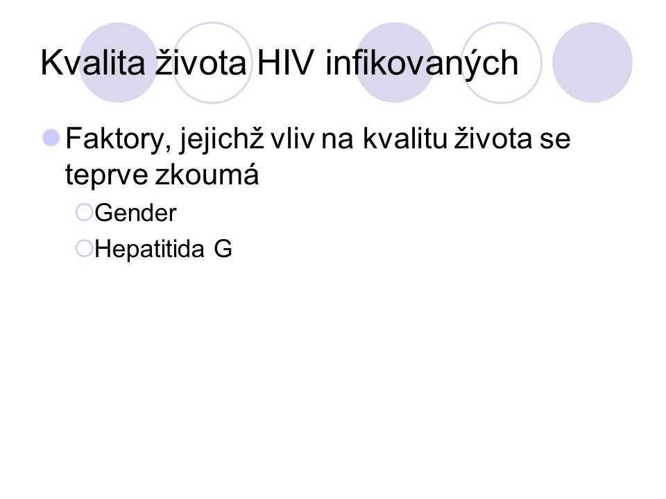Kvalita života HIV infikovaných Faktory, jejichž vliv na kvalitu života se teprve zkoumá  Gender  Hepatitida G