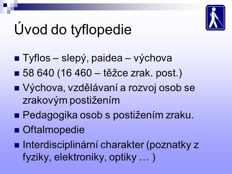 Úvod do tyflopedie Tyflos – slepý, paidea – výchova 58 640 (16 460 – těžce zrak. post.) Výchova, vzdělávaní a rozvoj osob se zrakovým postižením Pedag