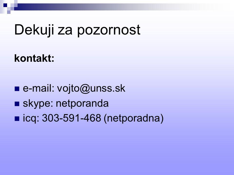 Dekuji za pozornost kontakt: e-mail: vojto@unss.sk skype: netporanda icq: 303-591-468 (netporadna)