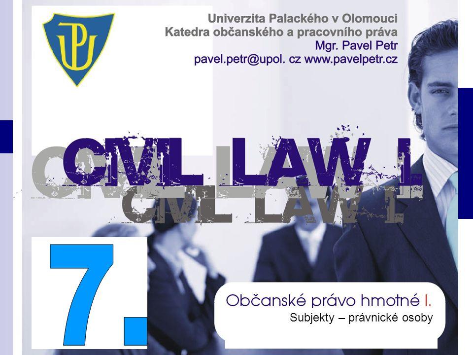 Subjekty občanskoprávních vztahů Osoby fyzické (os. přirozené) Osoby právnické (os. morální)