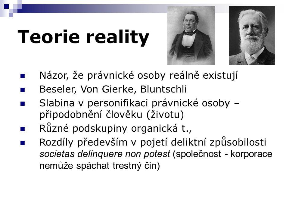 Teorie reality Názor, že právnické osoby reálně existují Beseler, Von Gierke, Bluntschli Slabina v personifikaci právnické osoby – připodobnění člověk
