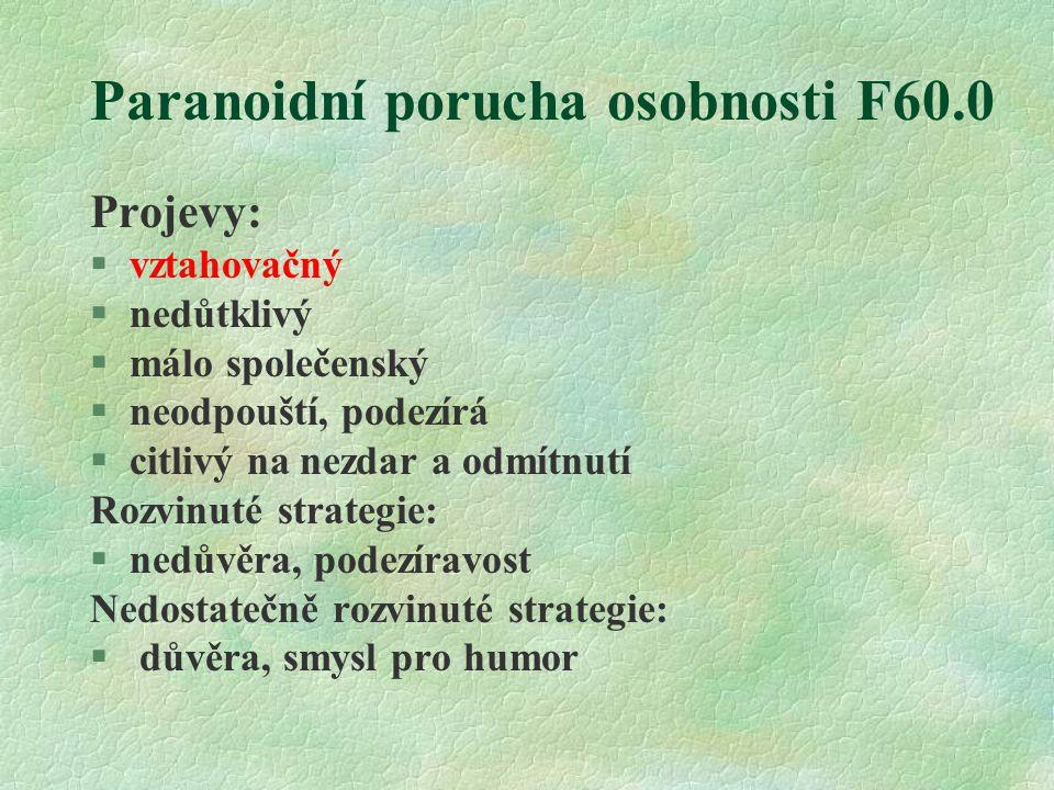 Paranoidní porucha osobnosti F60.0 Projevy: §vztahovačný §nedůtklivý §málo společenský §neodpouští, podezírá §citlivý na nezdar a odmítnutí Rozvinuté strategie: §nedůvěra, podezíravost Nedostatečně rozvinuté strategie: § důvěra, smysl pro humor