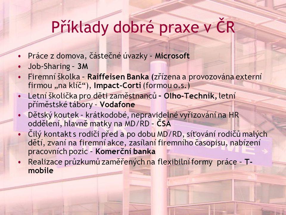 Příklady dobré praxe v ČR Práce z domova, částečné úvazky – Microsoft Job-Sharing – 3M Firemní školka – Raiffeisen Banka (zřízena a provozována extern