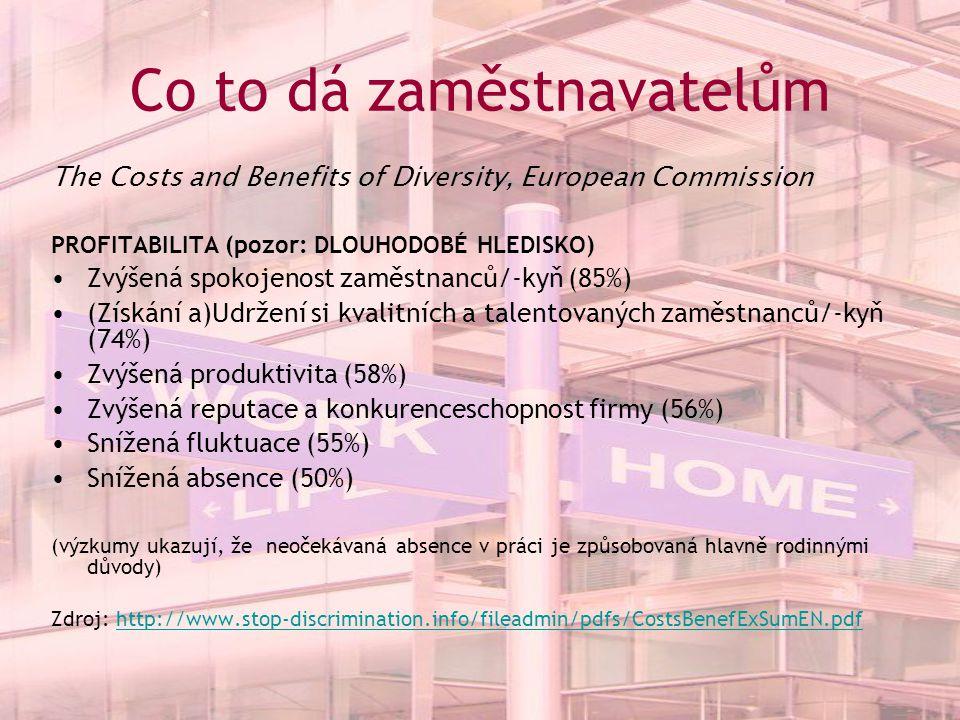 Co to dá zaměstnavatelům The Costs and Benefits of Diversity, European Commission PROFITABILITA (pozor: DLOUHODOBÉ HLEDISKO) Zvýšená spokojenost zaměstnanců/-kyň (85%) (Získání a)Udržení si kvalitních a talentovaných zaměstnanců/-kyň (74%) Zvýšená produktivita (58%) Zvýšená reputace a konkurenceschopnost firmy (56%) Snížená fluktuace (55%) Snížená absence (50%) (výzkumy ukazují, že neočekávaná absence v práci je způsobovaná hlavně rodinnými důvody) Zdroj: http://www.stop-discrimination.info/fileadmin/pdfs/CostsBenefExSumEN.pdfhttp://www.stop-discrimination.info/fileadmin/pdfs/CostsBenefExSumEN.pdf