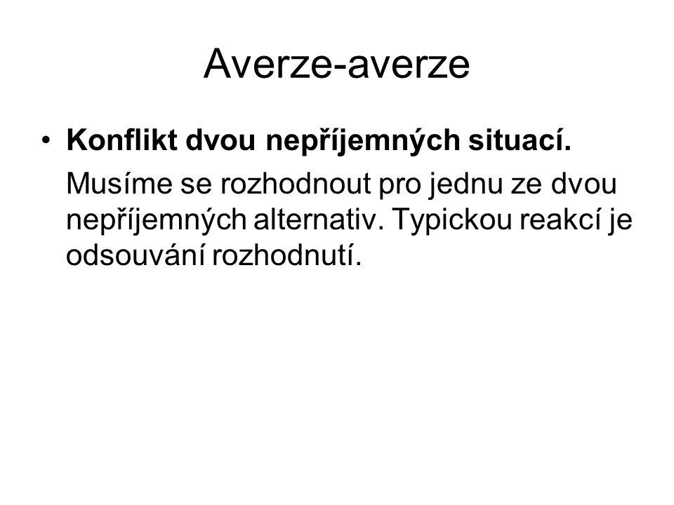 Apetence-averze Konflikt vzniklý tím, že situace je zároveň pozitivní i negativní.