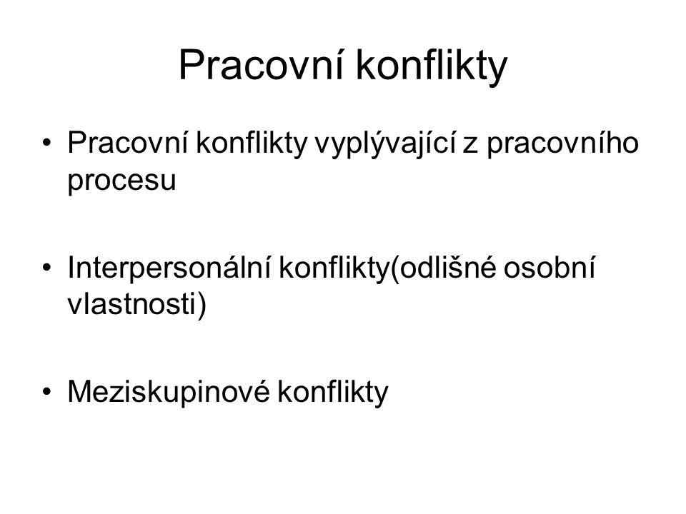 Pracovní konflikty Pracovní konflikty vyplývající z pracovního procesu Interpersonální konflikty(odlišné osobní vlastnosti) Meziskupinové konflikty