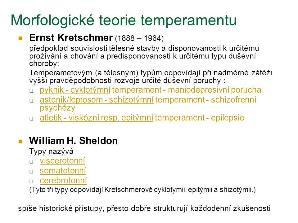 Morfologické teorie temperamentu Ernst Kretschmer (1888 – 1964) předpoklad souvislosti tělesné stavby a disponovanosti k určitému prožívání a chování