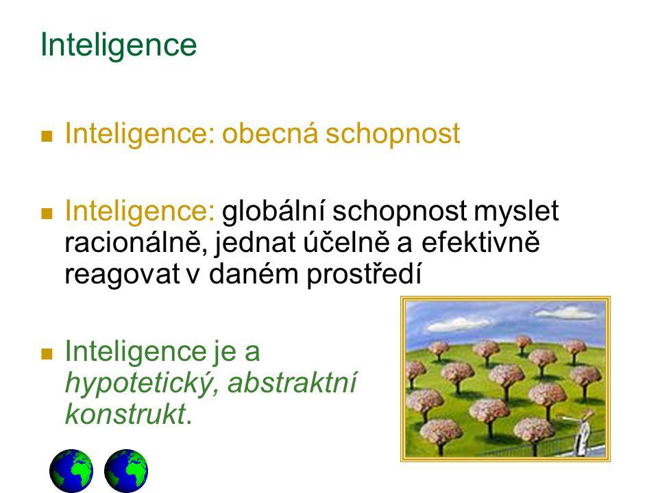 Inteligence Inteligence: obecná schopnost Inteligence: globální schopnost myslet racionálně, jednat účelně a efektivně reagovat v daném prostředí Inte