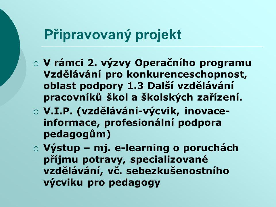 Připravovaný projekt  V rámci 2. výzvy Operačního programu Vzdělávání pro konkurenceschopnost, oblast podpory 1.3 Další vzdělávání pracovníků škol a