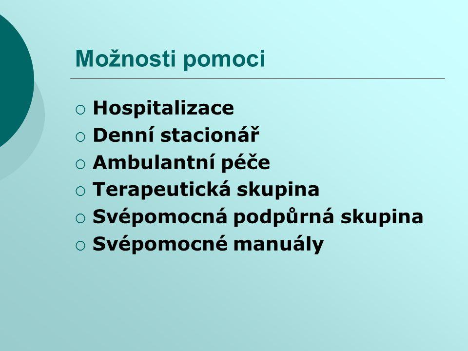 Možnosti pomoci  Hospitalizace  Denní stacionář  Ambulantní péče  Terapeutická skupina  Svépomocná podpůrná skupina  Svépomocné manuály