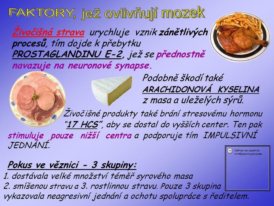 3) Nasycené živočišné tuky způsobují tvrdost cév, ale i nervových synapsí. Zlepšuje kvalitu myšlení. Jeho vznik podporuje strava bohatá na vit.E (soja
