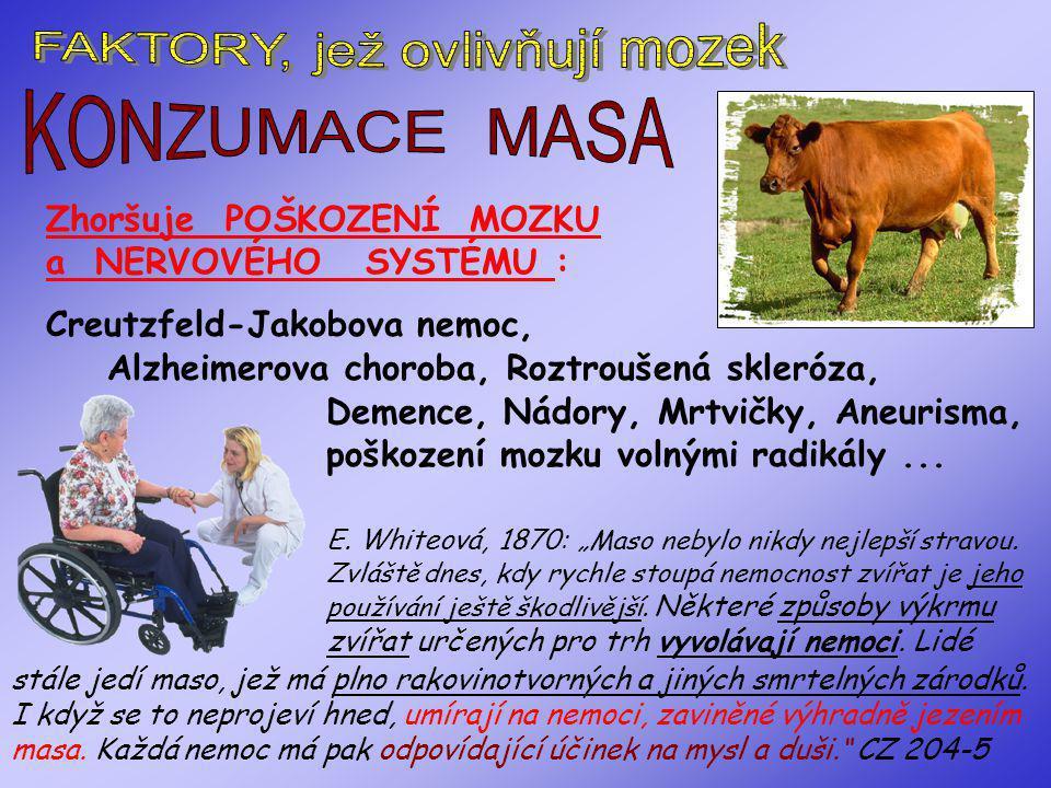 """Živočišné produkty také brání stresovému hormonu """"17 HCS"""", aby se dostal do vyšších center. Ten pak Živočišná strava urychluje vznik zánětlivých proce"""