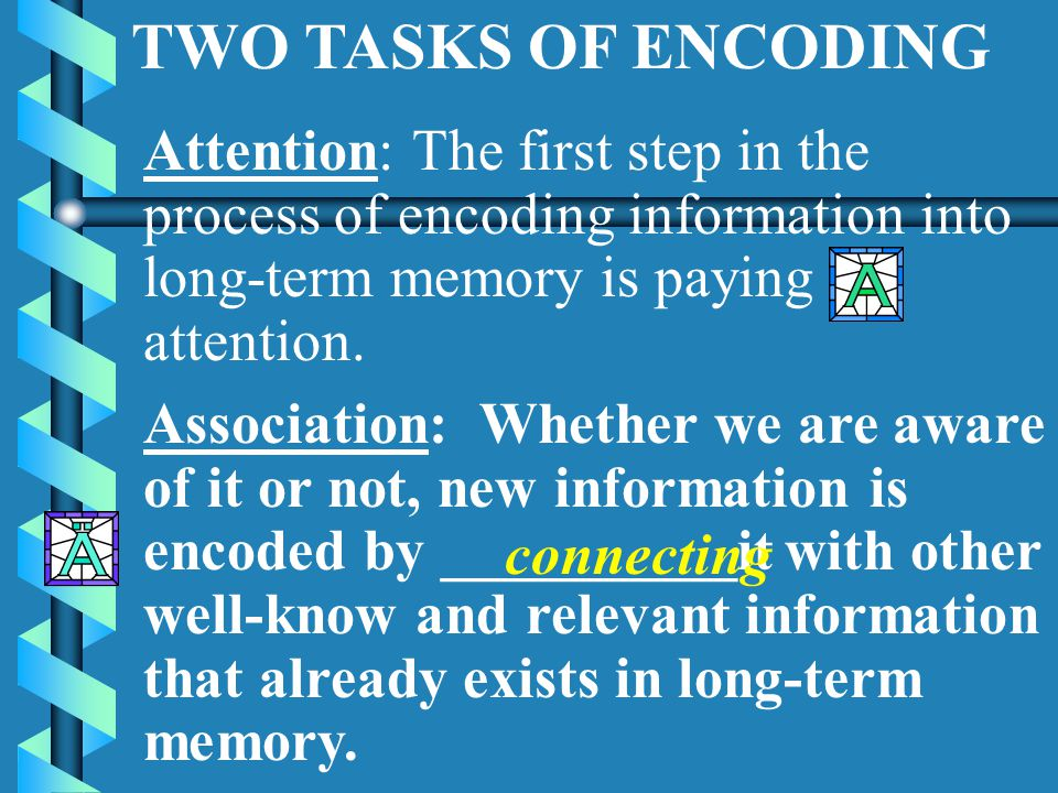 Encoding Describes the process of getting information into long-term memory Mental tasks such as: Paying ________to something. Reasoning it through __