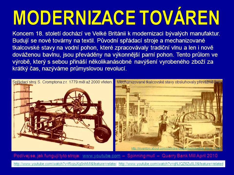 Zdokonalený parní stroj skotského vynálezce Jamese Watta byl nejprve užit při odčerpávání vody v dole a k pohonu dmychadel u vysokých pecí. http://www