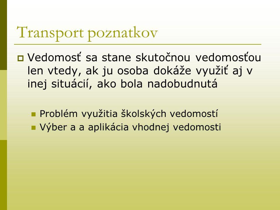 Transport poznatkov  Vedomosť sa stane skutočnou vedomosťou len vtedy, ak ju osoba dokáže využiť aj v inej situácií, ako bola nadobudnutá Problém vyu