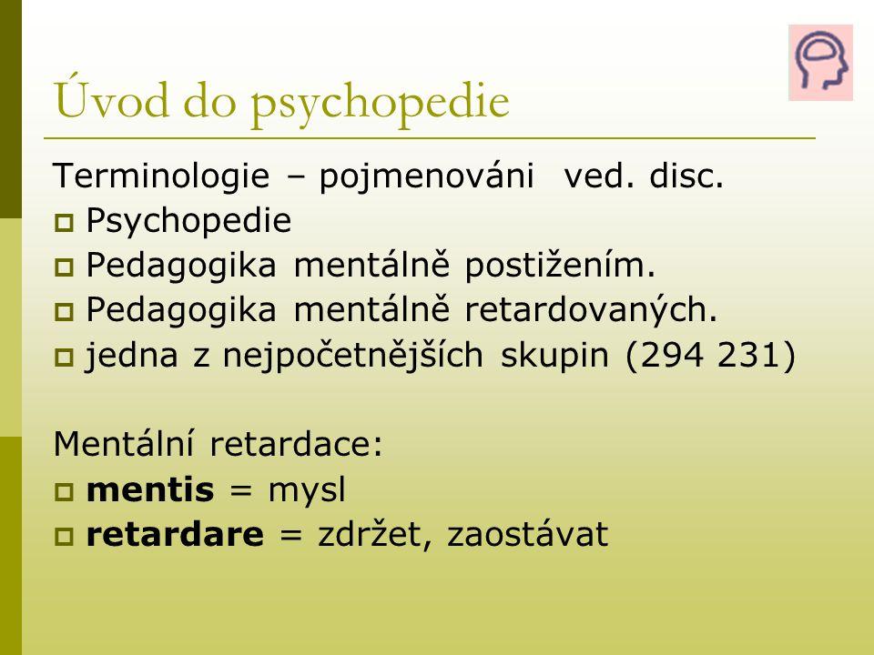 Klasifikace MR  Lehká mentální retardace (IQ 50 – 69) - lehká slabomyslnost (oligofrenie) - lehká mentální subnormalita - debilita  Střední mentální retardace (IQ 35 – 49) - střední slabomyslnost, imbecilita  Těžká mentální retardace (IQ 20 – 34) - těžká slabomyslnost, idioimbecilita  Hluboká mentální retardace (IQ pod 20) - hluboká slabomyslnost, idiocia