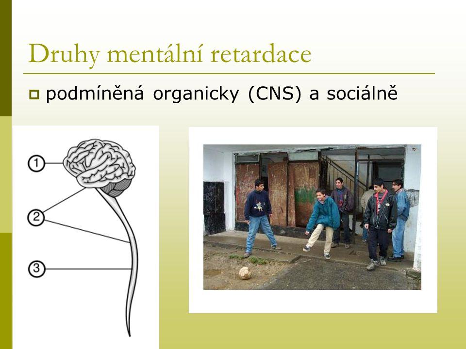 Druhy mentální retardace  podmíněná organicky (CNS) a sociálně