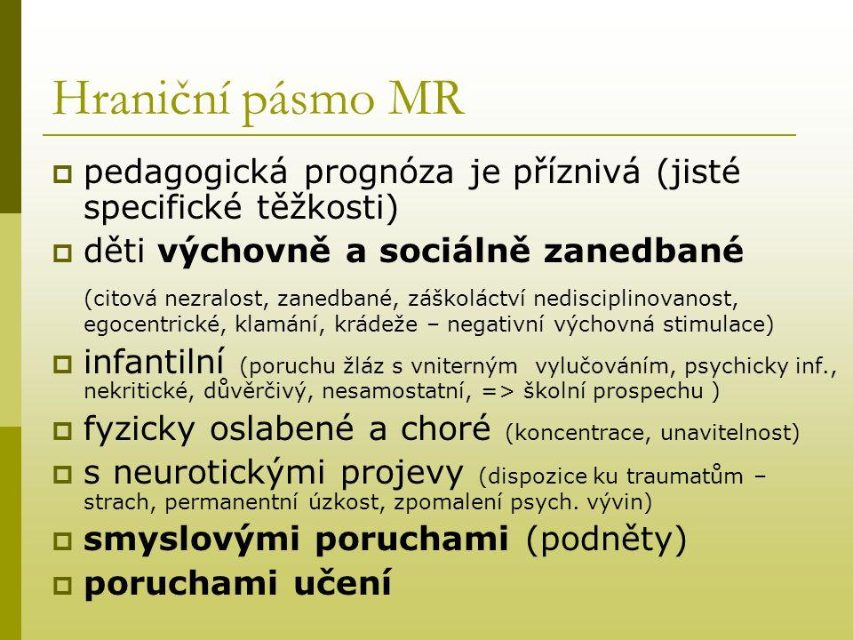 Hraniční pásmo MR  pedagogická prognóza je příznivá (jisté specifické těžkosti)  děti výchovně a sociálně zanedbané (citová nezralost, zanedbané, zá