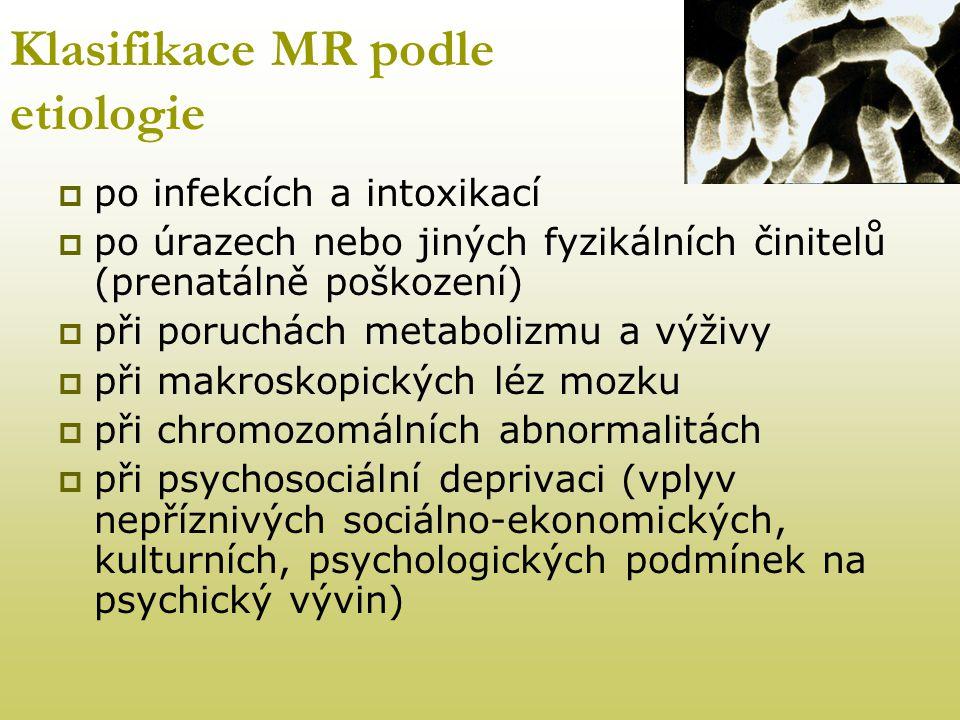 Klasifikace MR podle etiologie  po infekcích a intoxikací  po úrazech nebo jiných fyzikálních činitelů (prenatálně poškození)  při poruchách metabo