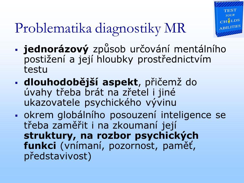 Problematika diagnostiky MR  jednorázový způsob určování mentálního postižení a její hloubky prostřednictvím testu  dlouhodobější aspekt, přičemž do