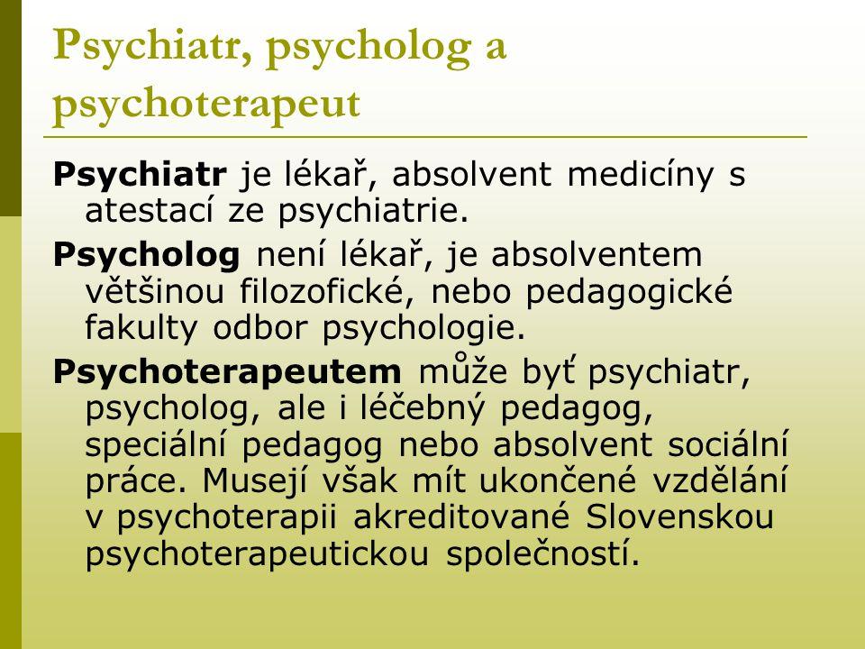 Psychiatr, psycholog a psychoterapeut Psychiatr je lékař, absolvent medicíny s atestací ze psychiatrie. Psycholog není lékař, je absolventem většinou