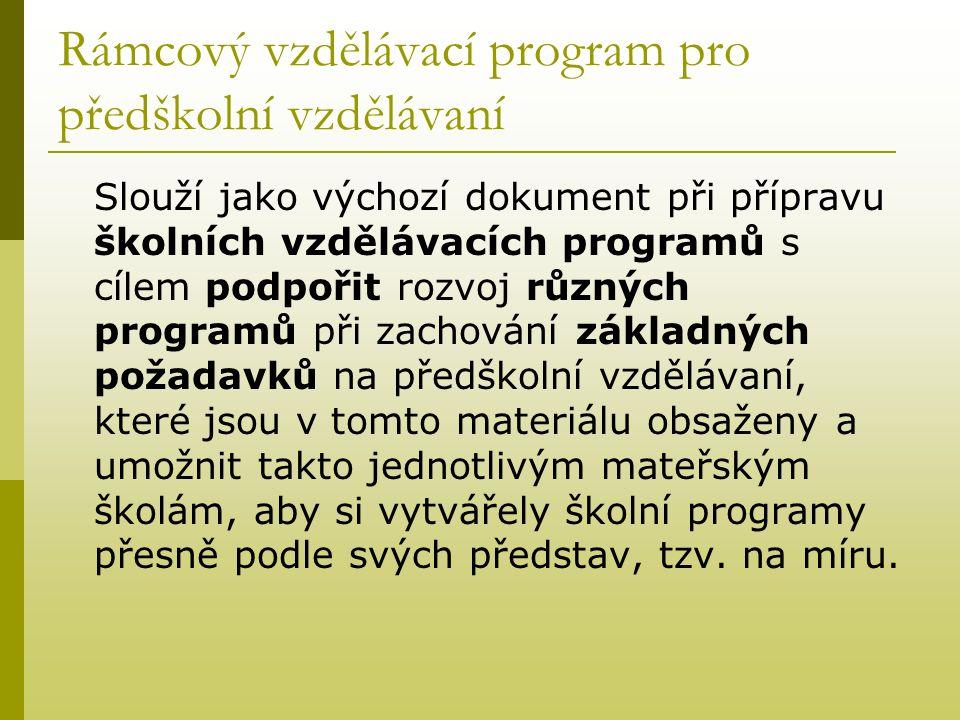 Rámcový vzdělávací program pro předškolní vzdělávaní Slouží jako výchozí dokument při přípravu školních vzdělávacích programů s cílem podpořit rozvoj