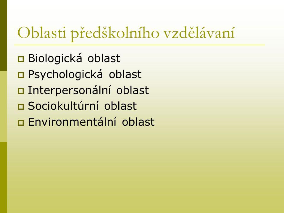 Oblasti předškolního vzdělávaní  Biologická oblast  Psychologická oblast  Interpersonální oblast  Sociokultúrní oblast  Environmentální oblast