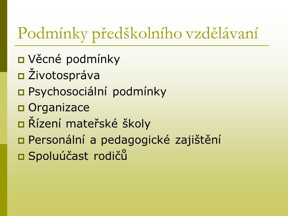 Podmínky předškolního vzdělávaní  Věcné podmínky  Životospráva  Psychosociální podmínky  Organizace  Řízení mateřské školy  Personální a pedagog