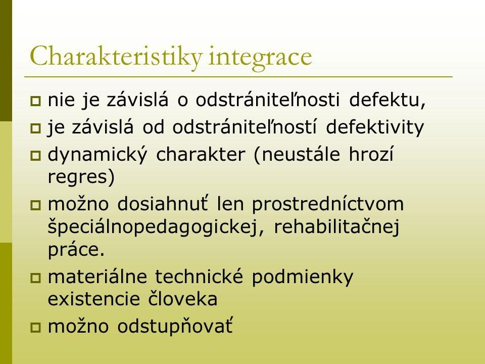 Charakteristiky integrace  nie je závislá o odstrániteľnosti defektu,  je závislá od odstrániteľností defektivity  dynamický charakter (neustále hr