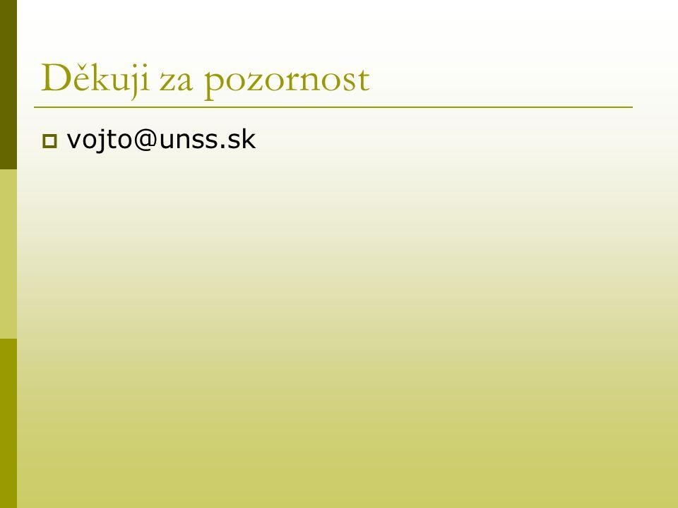 Děkuji za pozornost  vojto@unss.sk