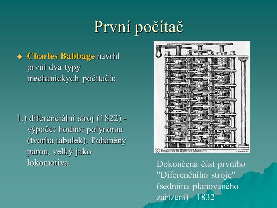 První počítač  Charles Babbage navrhl první dva typy mechanických počítačů: 1.) diferenciální stroj (1822) - výpočet hodnot polynomu (tvorba tabulek)