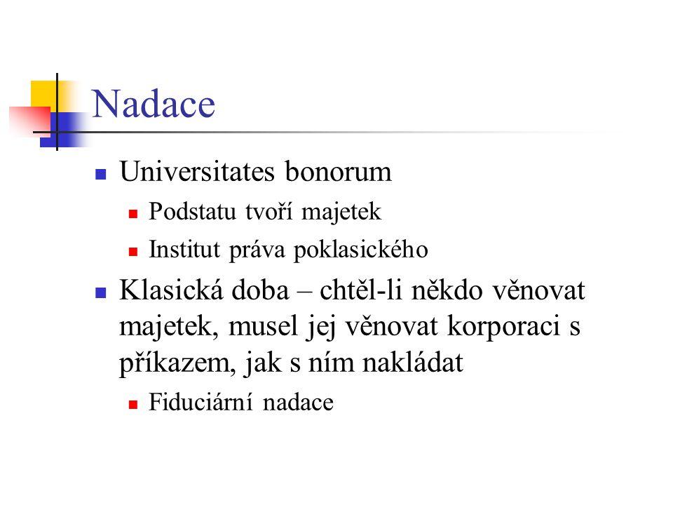 Nadace Universitates bonorum Podstatu tvoří majetek Institut práva poklasického Klasická doba – chtěl-li někdo věnovat majetek, musel jej věnovat korp