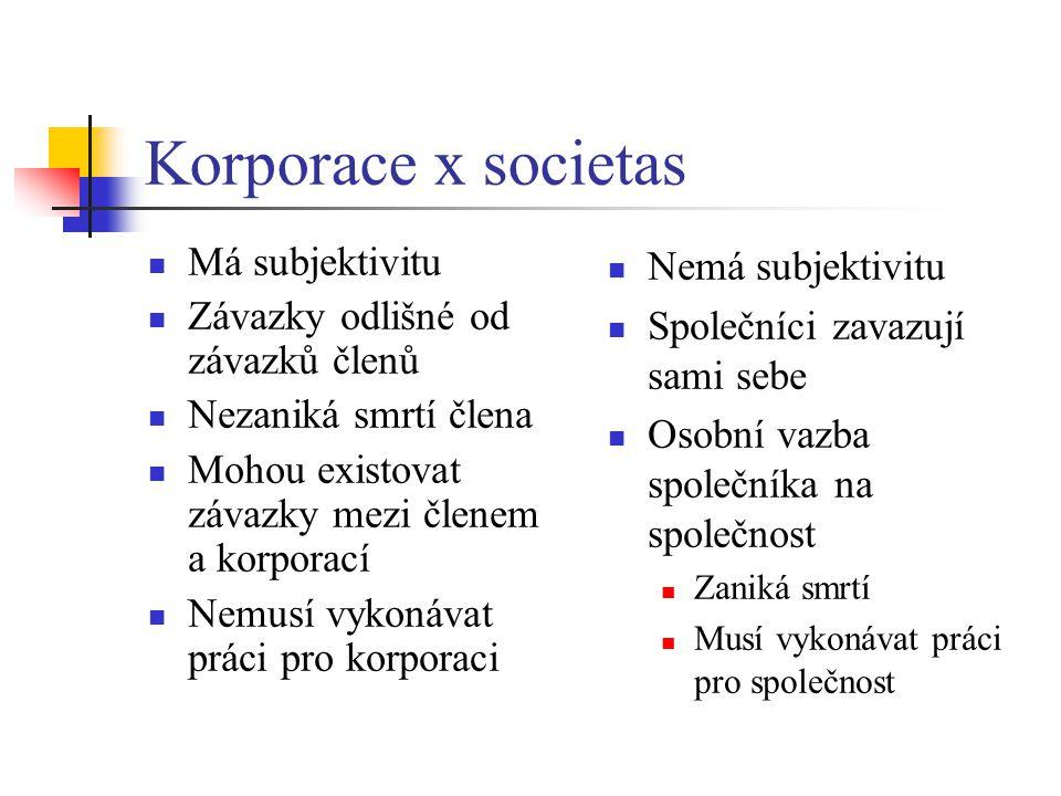 Korporace x societas Má subjektivitu Závazky odlišné od závazků členů Nezaniká smrtí člena Mohou existovat závazky mezi členem a korporací Nemusí vyko