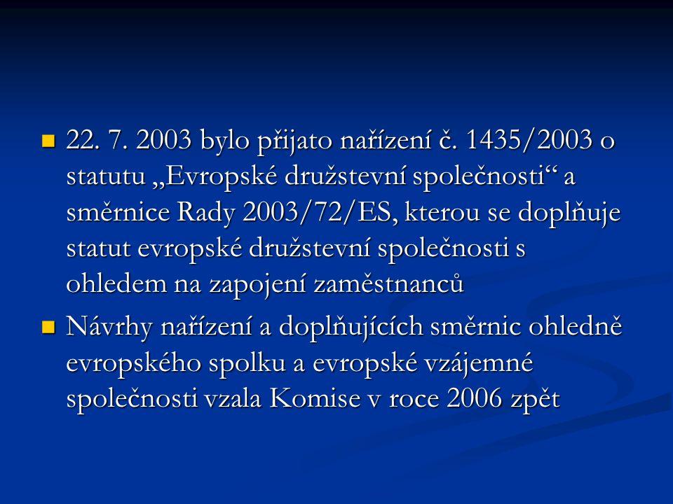 22. 7. 2003 bylo přijato nařízení č.