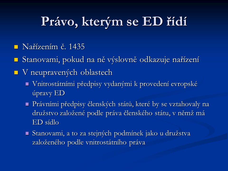 Právo, kterým se ED řídí Nařízením č. 1435 Nařízením č.
