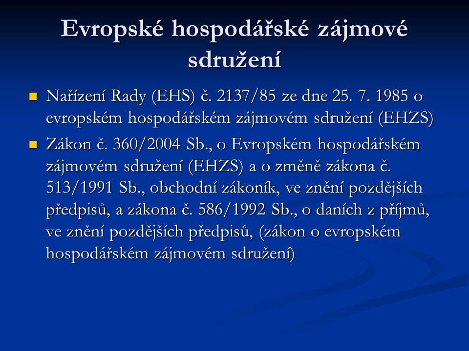 Evropské hospodářské zájmové sdružení Nařízení Rady (EHS) č.