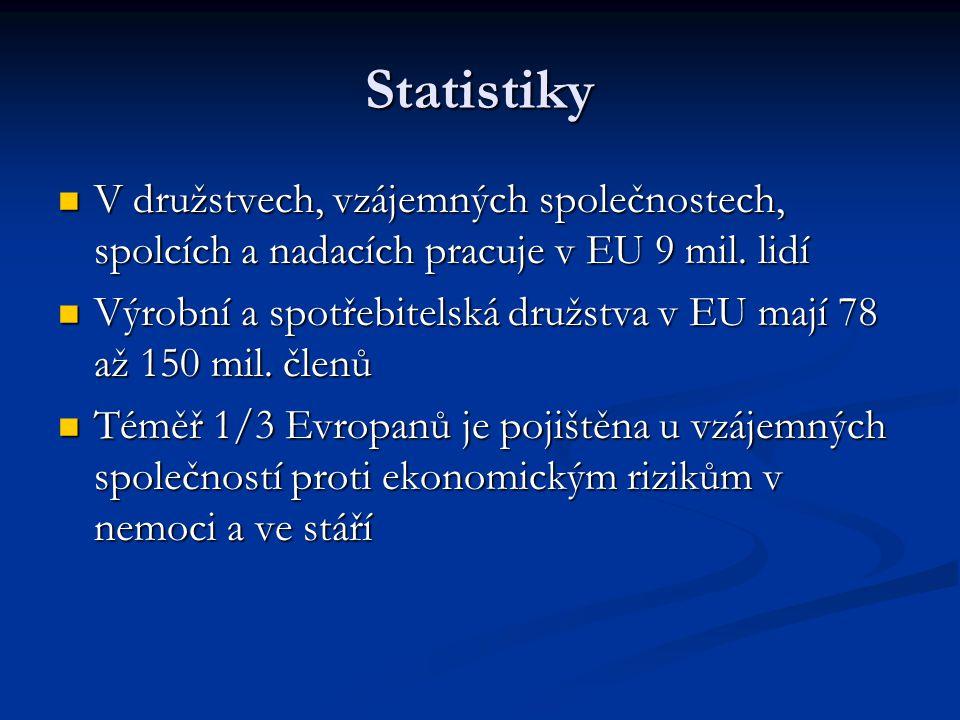 Statistiky V družstvech, vzájemných společnostech, spolcích a nadacích pracuje v EU 9 mil.