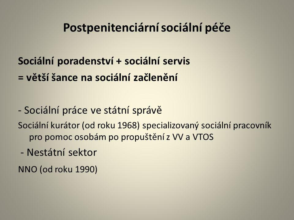 Postpenitenciární sociální péče Sociální poradenství + sociální servis = větší šance na sociální začlenění - Sociální práce ve státní správě Sociální