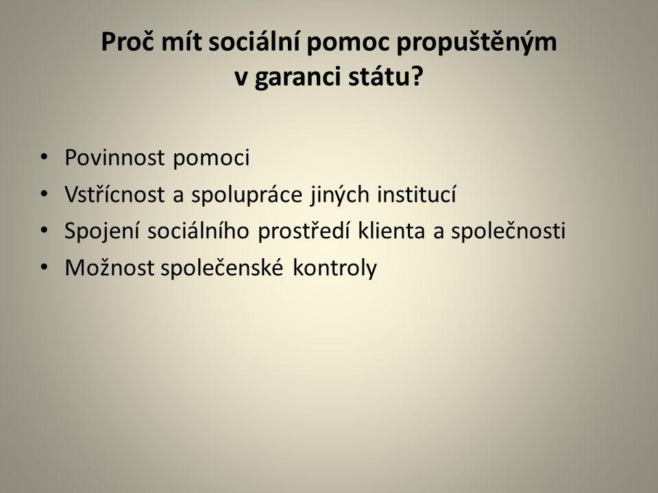 Proč mít sociální pomoc propuštěným v garanci státu? Povinnost pomoci Vstřícnost a spolupráce jiných institucí Spojení sociálního prostředí klienta a