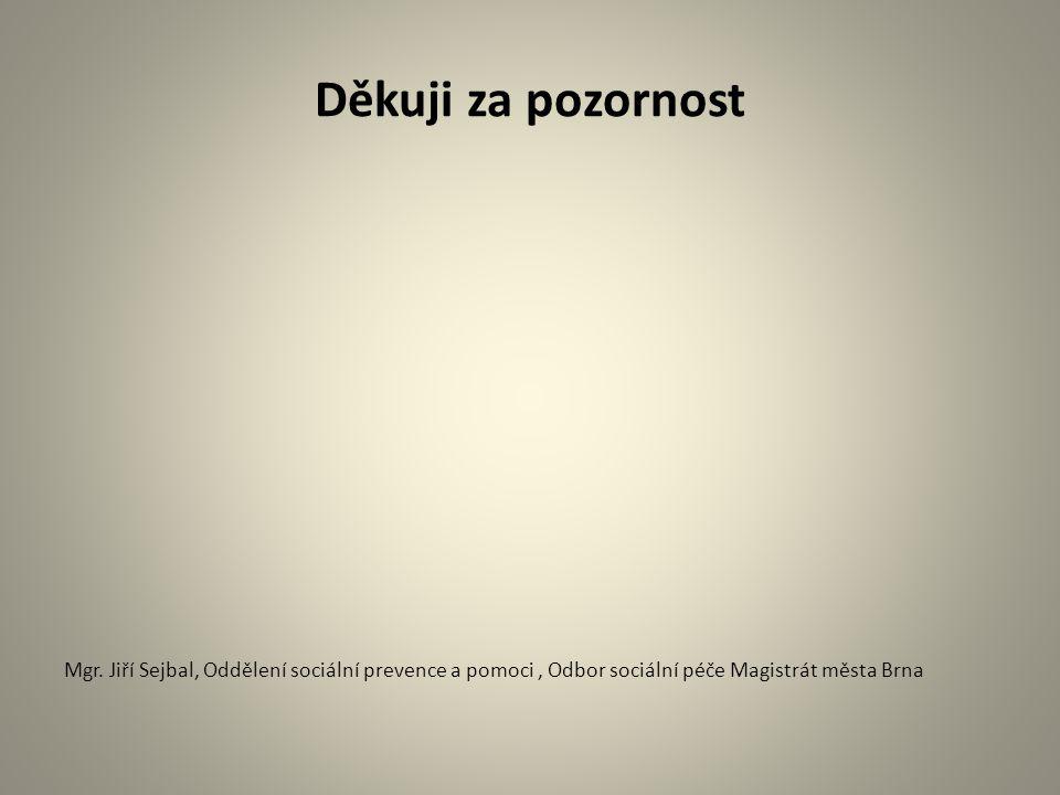Děkuji za pozornost Mgr. Jiří Sejbal, Oddělení sociální prevence a pomoci, Odbor sociální péče Magistrát města Brna