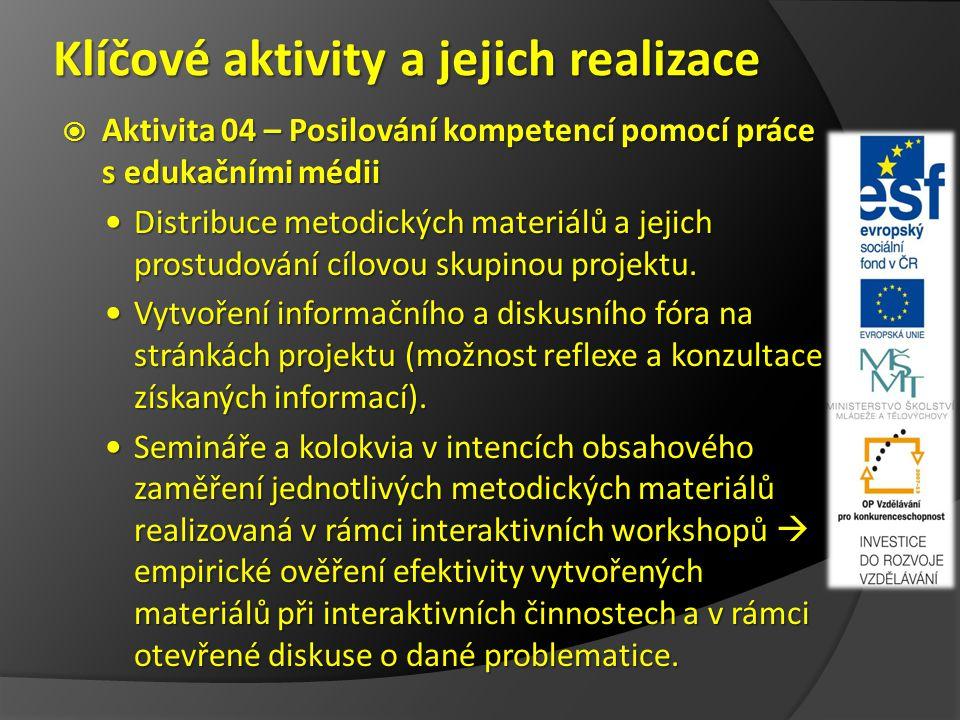 Klíčové aktivity a jejich realizace  Aktivita 04 – Posilování kompetencí pomocí práce s edukačními médii Distribuce metodických materiálů a jejich prostudování cílovou skupinou projektu.