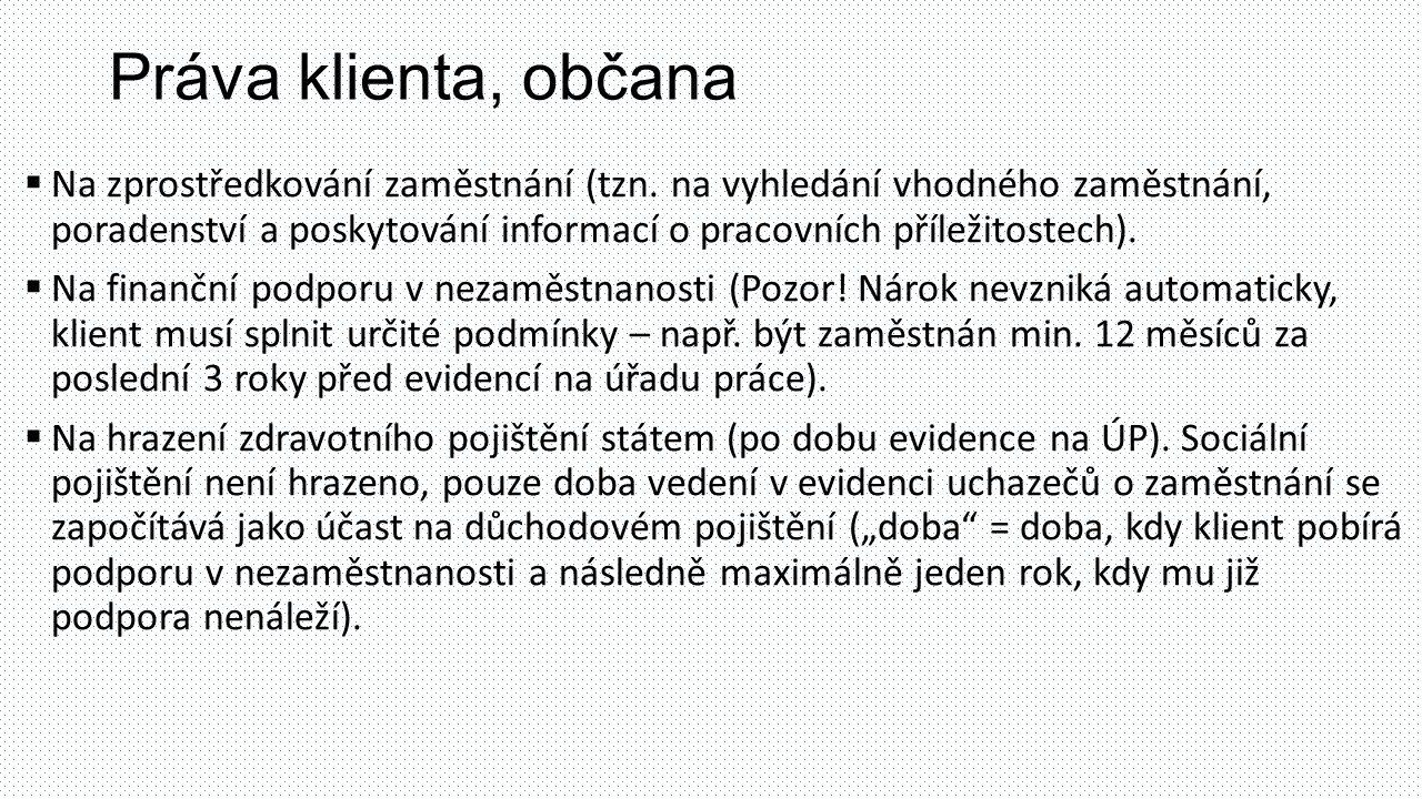 Práva klienta, občana  Na zprostředkování zaměstnání (tzn. na vyhledání vhodného zaměstnání, poradenství a poskytování informací o pracovních příleži